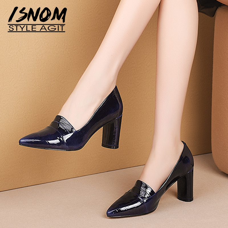 ISNOM High Heels Thick Pumps Women Emboss Patent Leather Pumps Shoes Female Fashion Pointed Toe Office Shoes Autumn 2019 New