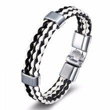 2017 Fashion Charm Leather Bangle Men's Bracelets Popular DIY Bandage Handmade Black Weave Bracelets!