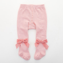 Ins Baby Girls Pantyhose With Bows Toddlers Cotton Tights Autumn Winter Infant Kids Stockings Girls Tights Children's Pantyhose fashion brand infant baby girls tights toddler kids tights pantyhose autumn winter baby girl stockings girl pants