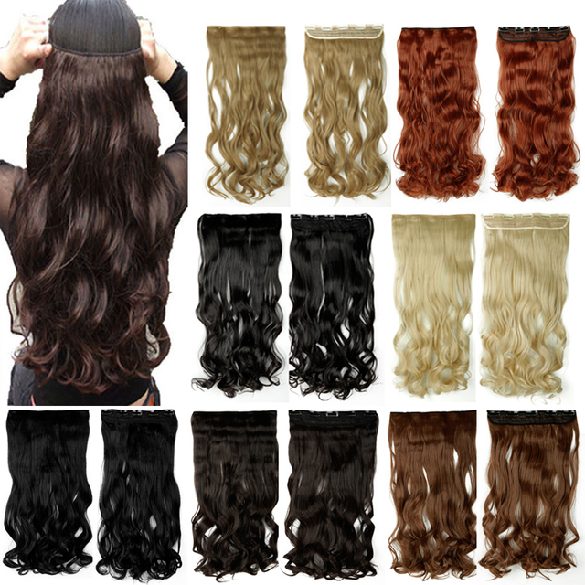 2790cm 34 Clip In Hair Extensions Curly Wavy One Piece Real Thick