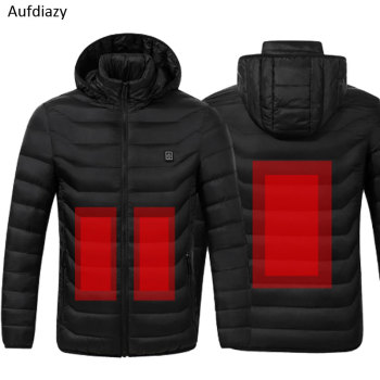 Aufdiazy USB Heating Jacket Men Women Smart Thermostat Hooded Heated Clothing Men's Waterproof Skiing Hiking Fleece Jacket IM023