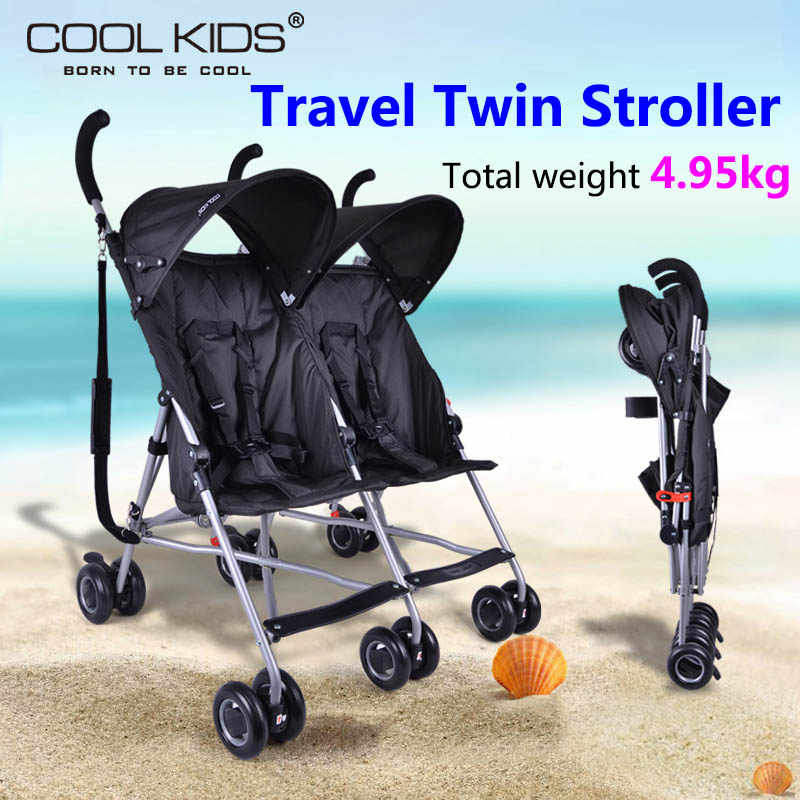 Coolkids Bayi Double Stroller Payung Mobil Portable Suspensi Folding Anak Kembar Trolley