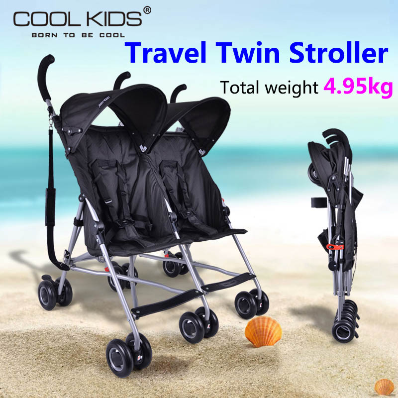 Coolkids baby double stroller portable car umbrella suspension folding child twins trolley baby stroller ultra light portable shock absorbers bb child summer baby hadnd car umbrella