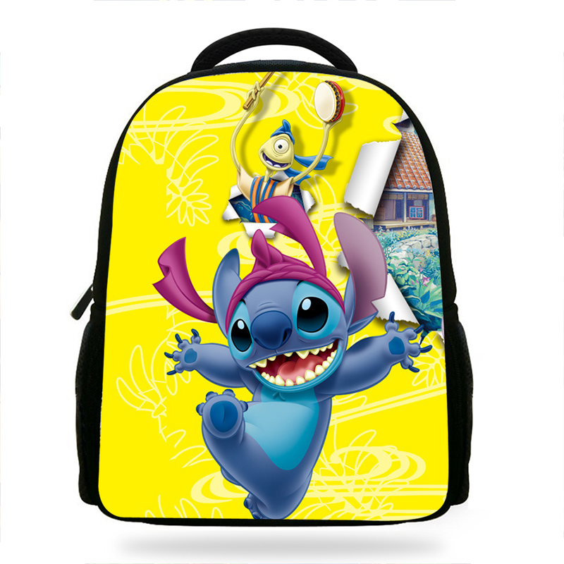 4aead089e35 cute cartoon Lilo Stitch   Angel backpack yellow   bule school bag for boys  girls children