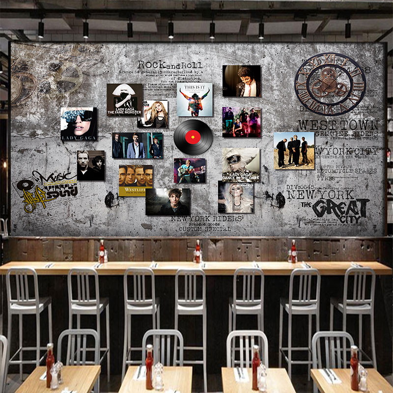 Free Shipping 3D Black plastic jigsaw puzzle star wallpaper Cafe Bar KTV theme Hotel background retro cement wallpaper mural