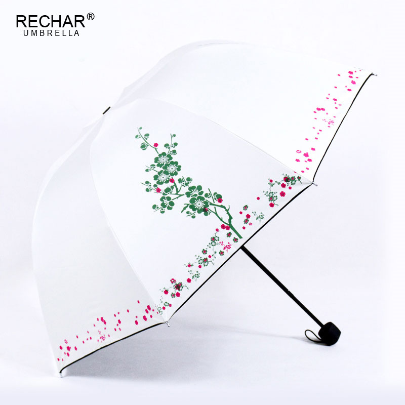 New Creativity Non-automatic Women Umbrella 3 Folding Plum Pattern Umbrella Rain Women Gifts Travel Sunshade