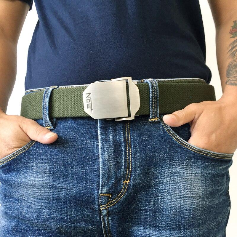 Hot male tactical belt Top quality Elastic Canvas belts for men NO5 Automatic buckle Outdoor Sport Long 160cm White Weave straps