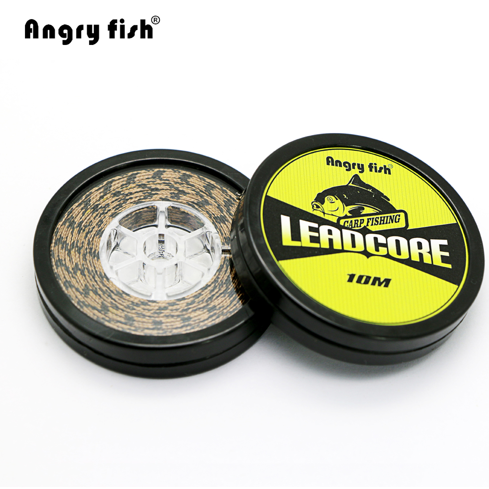 Angryfish Lead Core Carp Fishing Line 25Lbs 35Lbs 45Lbs 60Lbs 10Meters for Carp Rig Making Sinking Braided Line