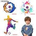 Nicediy Fire Soccer термонаклейки для одежды футболка футбольный игрок Тепловые наклейки на фотопальто DIY для мальчиков