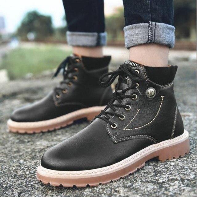 Yüksek Kaliteli Deri Sonbahar Erkek Botları Kış Su Geçirmez yarım çizmeler Martin Çizmeler Açık iş çizmeleri erkek ayakkabısı