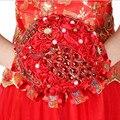 Vermelho Artificial Buquê de Casamento Buquê de Flores Do Casamento Buquês de Noiva Brautstrauss Braut Bruidsboeket De Mariage Em Estoque