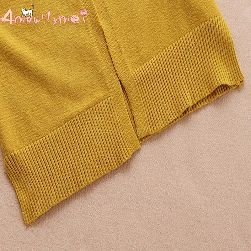 Amourlymei 2018 Autumn Women Sweater Coat V-neck Long Sleeve Kawaii Cat Embroidery Knitted Cardigan Japanese Style Mori Girl Women's Clothing