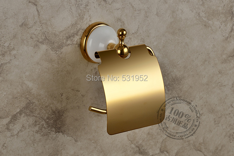 free shipping gold plate wallmounted toilet roll holders toilet paper storage with cover bathroom accessories wholesale