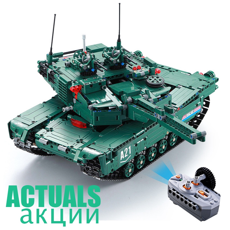 Remote Control The M1A2 RC Tank Wars 61001 1498Pcs Military Weapon Model Building Blocks Bricks Toys