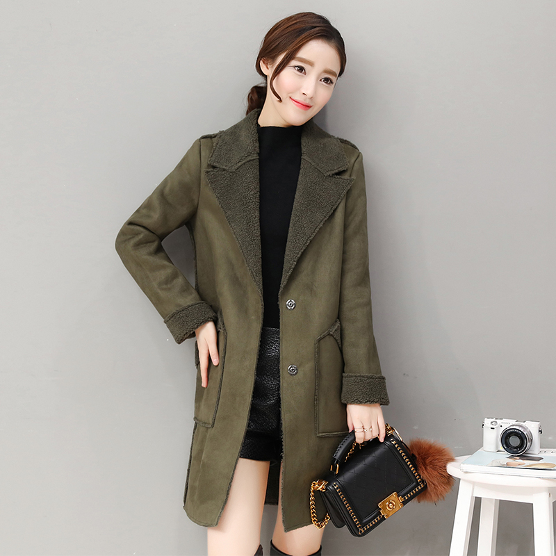 Manteau Femme Winter Jacket Women Suede Lambs Wool Coat Thick Cotton Padded Maxi Coats Long Jacket Female Parka Coat Women winter jacket women pregnant oversized coats thick long parka hooded loose outwear cotton winter coat women manteau femme c3811
