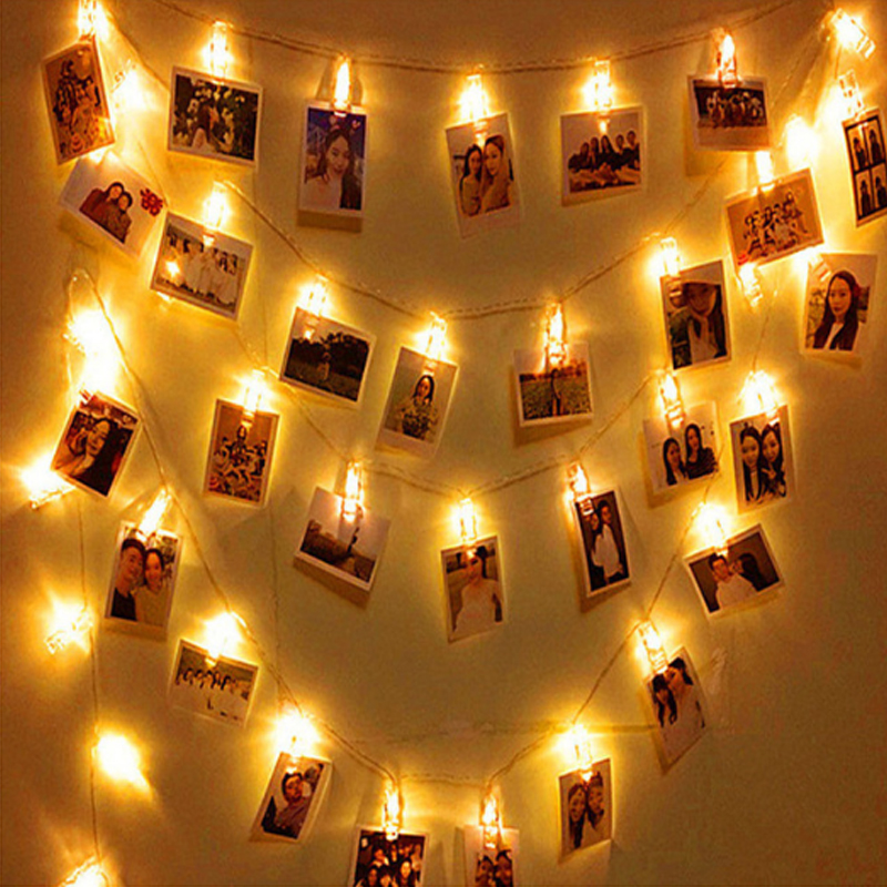 2M 20 LED Garland Card Photo Clip String Lights for New Year Christmas Festival Party Wedding Lamp Home Decoration led light new festival light wedding celebration product showcase decoration 1 2m led star lamp h319