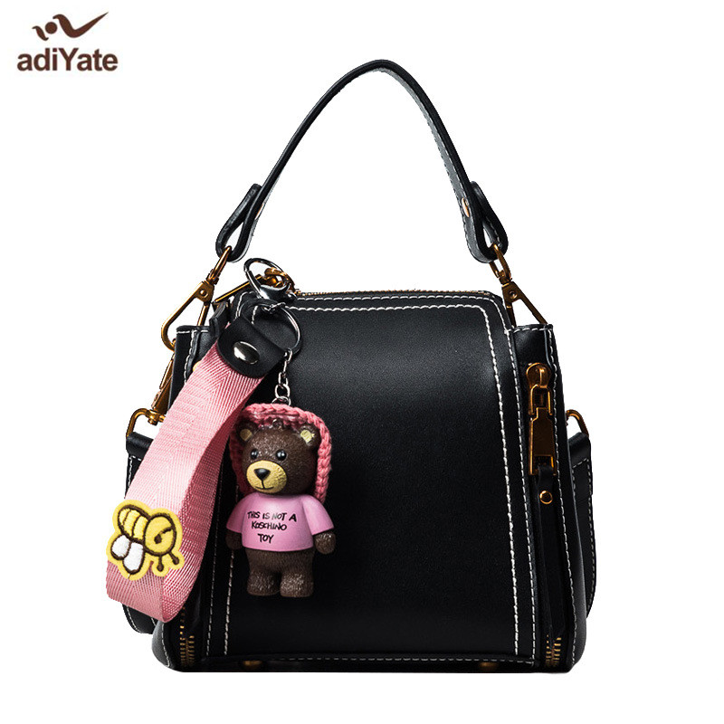 2f9e80e6fb7a ADIYATE Black Leather Bear Shoulder Bag Cheap Women Bags Small Office Bolsa  Kawaii Women s Handbags Bolsa Feminina Luxury Brand -in Shoulder Bags from  ...