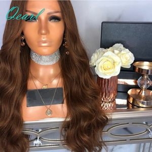 Image 4 - Brown Body Wave Human Hair Full Lace Wigs 180% Brazilian Remy Hair Pre Plucked Middle Part Wavy Wig With Baby Hair Qearl