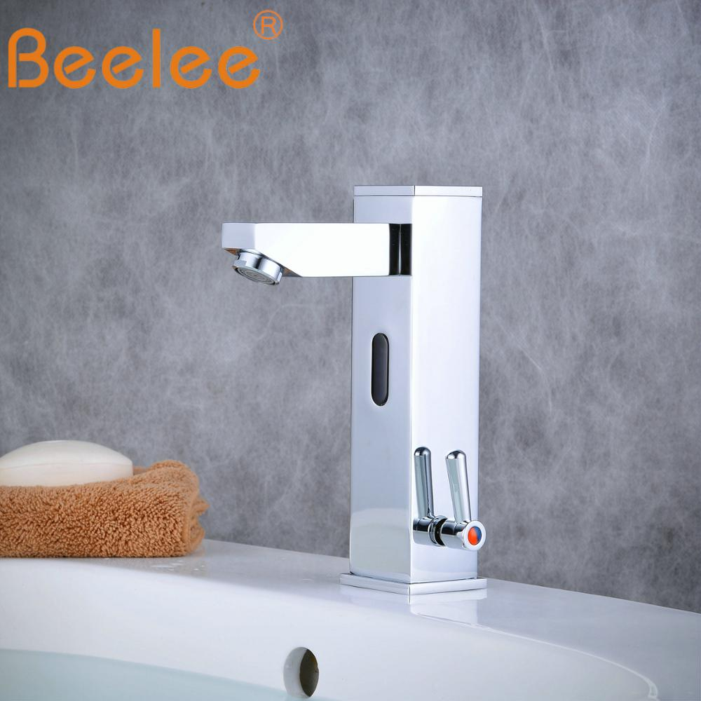New Hot And Cold Solid Brass Square Bathroom Basin Water Faucet Motion Automatic Inductive Sensor Faucet Mixer Tap (QH0116A)