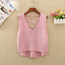 Bandage Women's Short Tops Summer Autumn Casual Sleeveless Sexy V-Neck Crop Top Women Korean Fashion Knitted Vest Vetement Femme