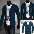 2014 Seconds Kill Real Regular Polo Summer Male Slim Long-sleeve V-neck Casual Cardigan Sweater Solid Color Trend of Outerwear