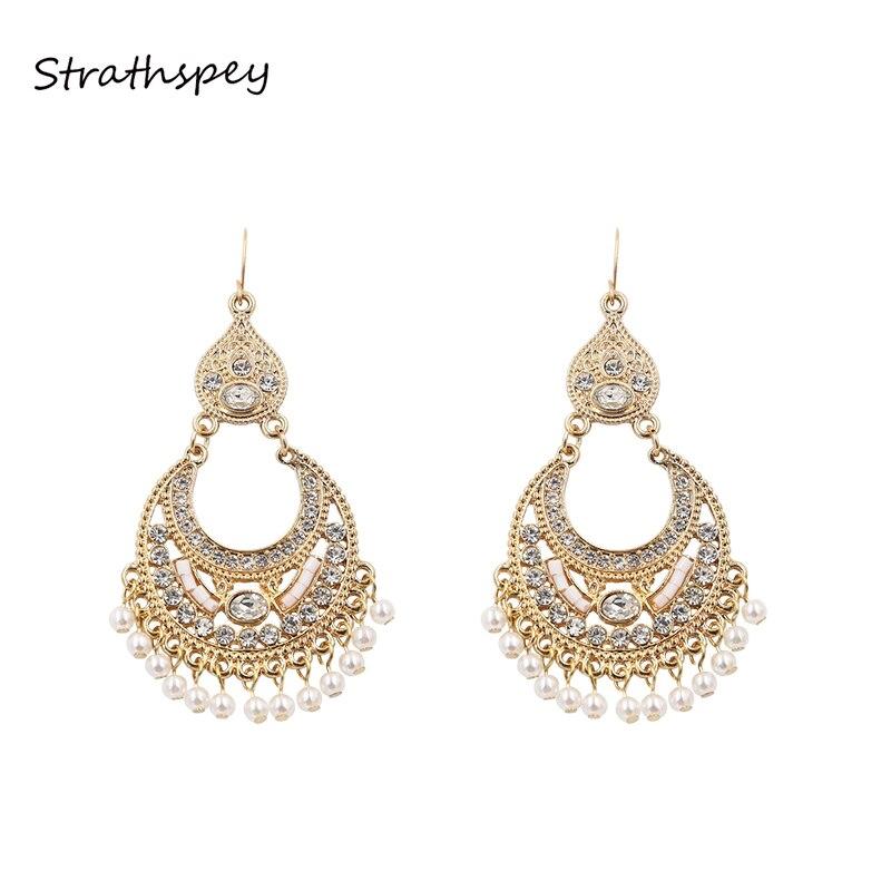 Brincos de pérola strathspey, brincos de pérola com borlas de luxo, antiguidade, dourado, grande e com strass, bijoux, boucles d'oreilles, europa, indiano