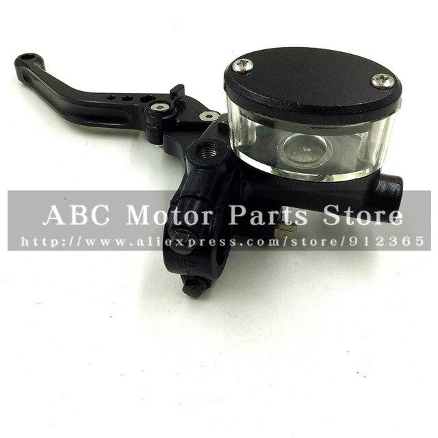 Schwarz Hydraulische Kupplungshebel für motorrad motocross Mit Spiegelhalter Bremshebel CNC 5 getriebe teller Transparent Öl Tasse