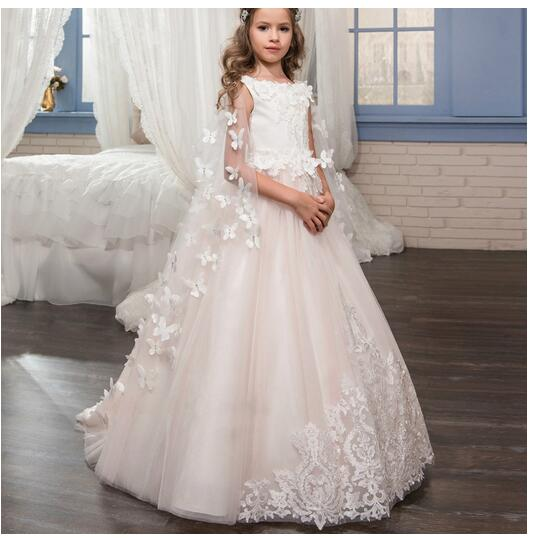 Girls Formal Dress 2017 Sleeveless Flower Girls Dresses Kids Floor Length Party Lace Gauze Ball Gown Children's Wedding Dress floor length plus size lace formal dress