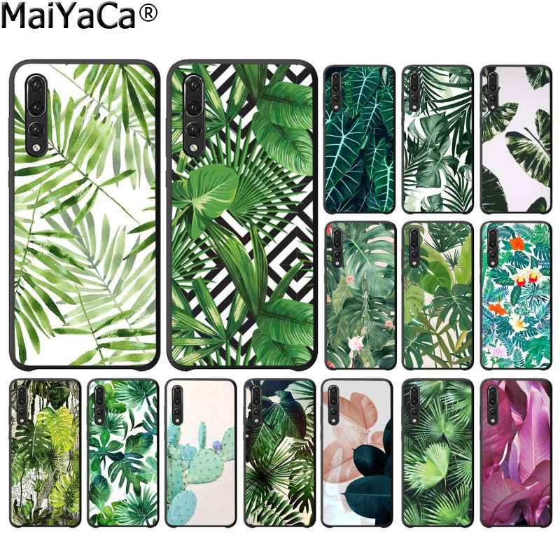 MaiYaCa Tropical Plants Cactus Banana Leaves Black Phone Case for Huawei P10 Plus Lite P20 Pro Mate20 Pro Mate10 Lite P30 Pro