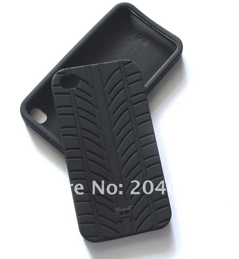 Free Shipping Tyre Pattern Soft Silicone Case Skin Cover For Iphone 4G, Cell Phone Case For Iphone 4 4TH 4G