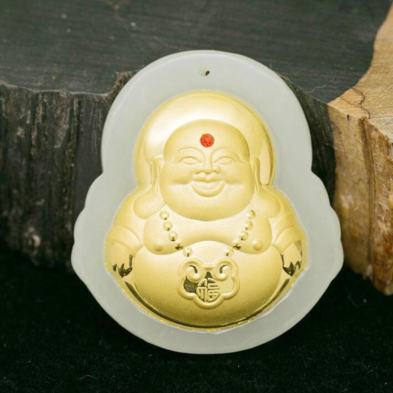 лучшая цена yu xin yuan Fine Jewelry Fashion Hetian Jade 24K Gold Carved Maitreya Necklace Pendant Treasure Lucky Peace Women Men Jewelry