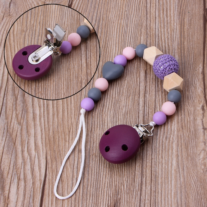 Cute Purple Baby Teething Dummy Pacifier Clip Infant Soother Nipple Strap Chain Safe Shower Gift Chew Toy Beautiful Color