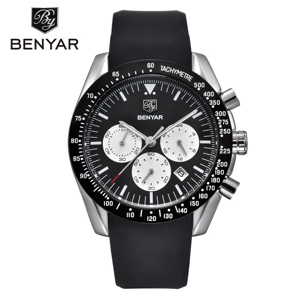 BENYAR Mens Watch Top Brand Luxury Silicone Business Sports Chronograph Quartz Watch Mens Clock Male Relogio masculino saatBENYAR Mens Watch Top Brand Luxury Silicone Business Sports Chronograph Quartz Watch Mens Clock Male Relogio masculino saat