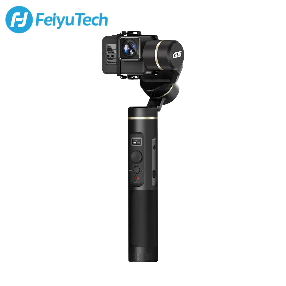 FeiyuTech G6 Splashproof Gimbal de mano Feiyu acción Cámara Wifi + Bluetooth OLED pantalla ángulo de elevación para Gopro Hero 6 5 RX0