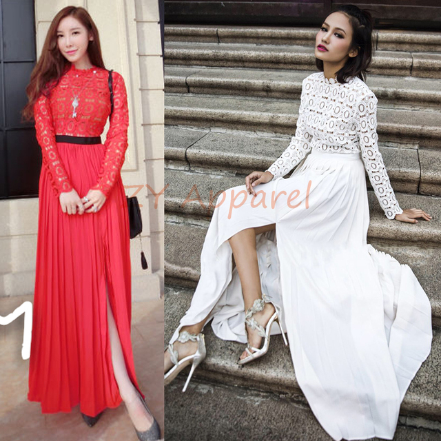 89af8ccf105 2016 New arrival self portrait Vintage Long Sleeve White Red lace Chiffon  Pleated Long Maxi dress Free Shipping