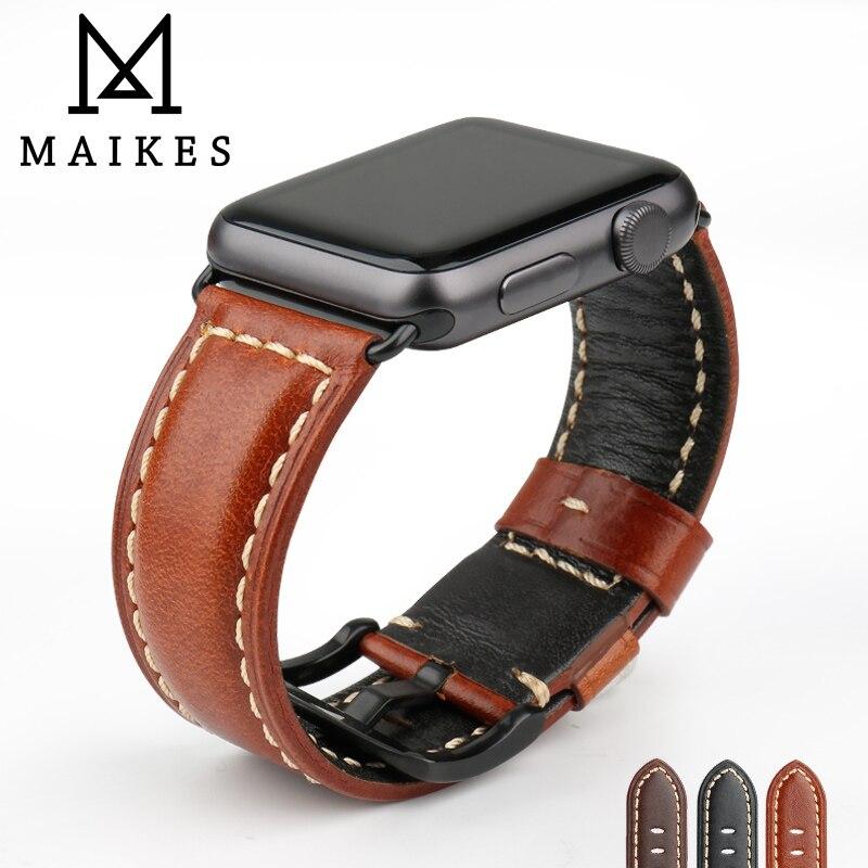 MAIKES Montre Accessoires Qualité En Cuir Montre Bracelet Pour Apple Montre Bande 44mm 40mm 42mm 38mm Série 4 3 2 iWatch Bracelet
