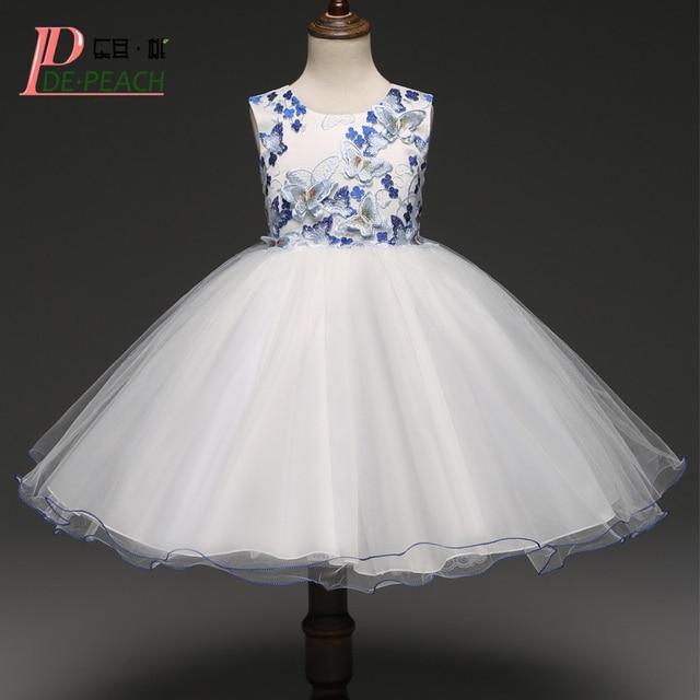 DE PFIRSICH Elegant Mädchen Kleid Kinder Bestickt Schmetterling ...