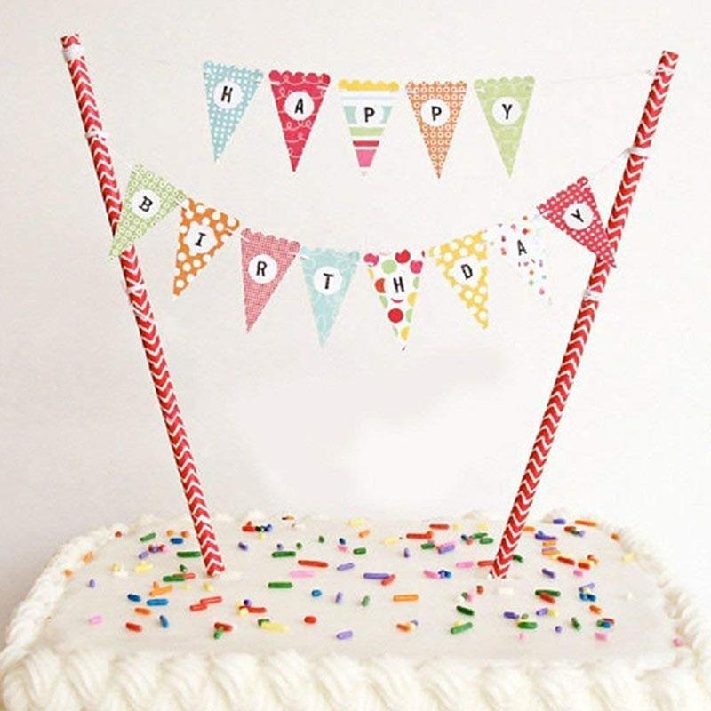 FANLUS Mini Happy Birthday Cake Bunting Banner Cake Topper ...