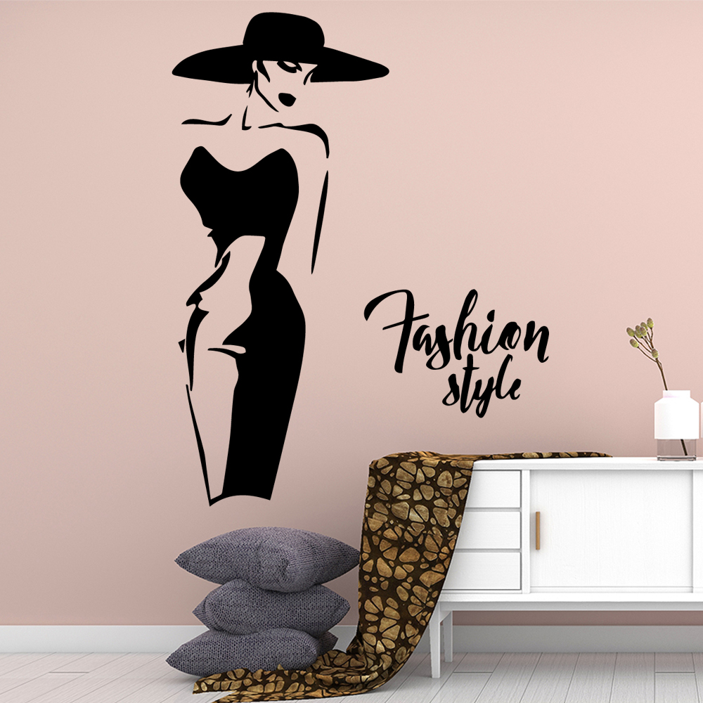 Funny Fashion laddy Vinyl Wallpaper Roll Furniture Decorative Nursery Kids Room Wall Decor removable mural in Wall Stickers from Home Garden