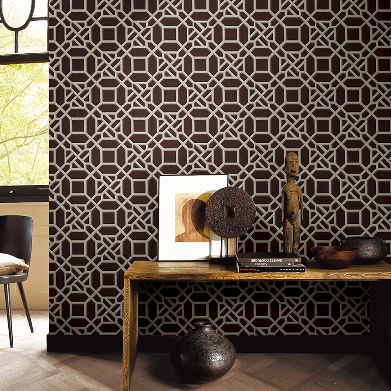 Beibehang Modern Chinese wallpaper living room study classical lattice hotel hotel restaurant decoration 3d wallpaper roll mural