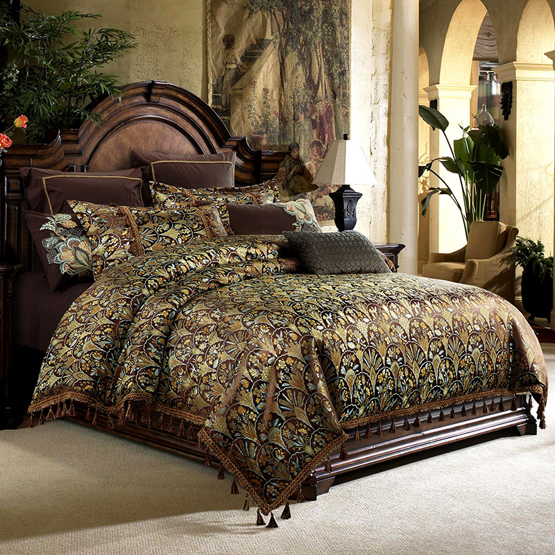 Luxury American Style Royal Embroidery Jacquard Silk Cotton Palace Bedding Set Duvet Cover Bed Sheet/Linen Pillowcases 4/6/9pcs