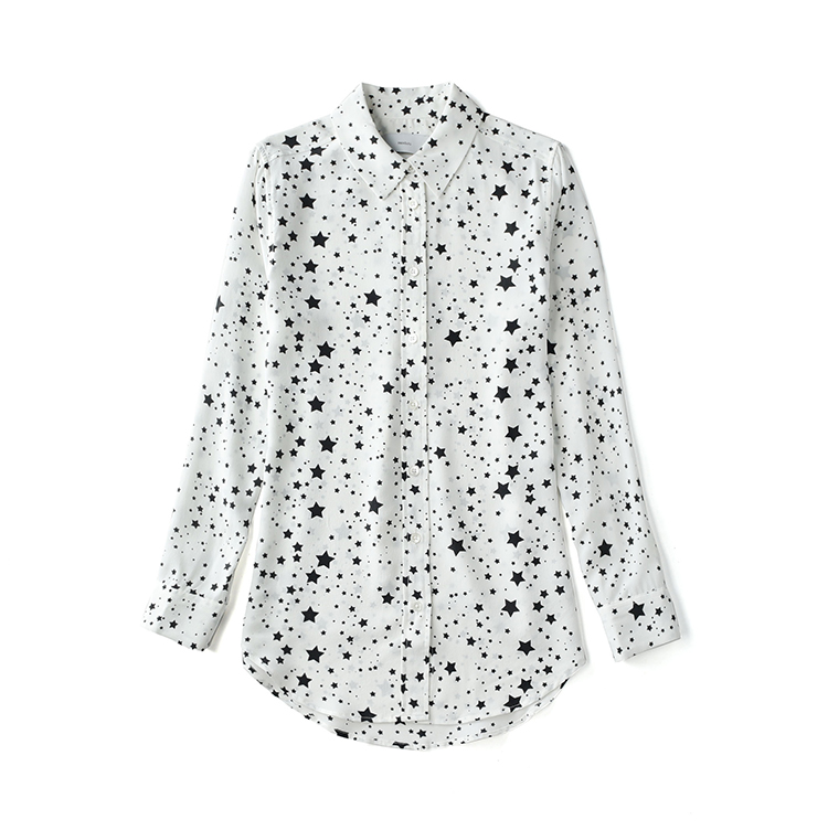 9c1a2107da ᓂ3 colors EQ Kate Moss ladies 100% real silk star print long sleeve ...