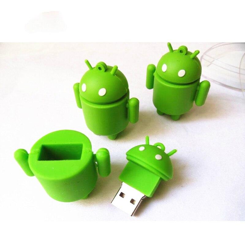 Robot Usb Flash Drive 4GB 8GB 16GB 32GB 64GB Cartoon Android Pen Drive U Disk Flash Drive  Memory  Stick Pen Drive Gift Hot Sale