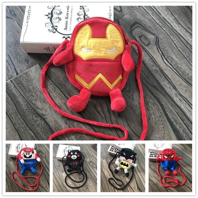 Crianças Herói Spiderman Mensageiro Sacos/Meninos Meninas kawaii Saco Crossbody/Crianças Dos Desenhos Animados Animal Macio Brinquedo de Pelúcia Bolsa de Ombro
