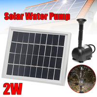 2W Solar Power Panel Water Pump Pool& Garden Pond Watering Fountain Submersible