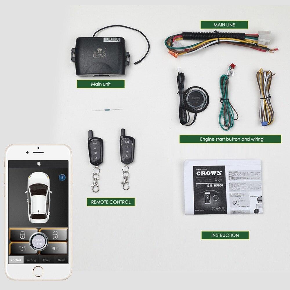 SmartPhone contrôle PKE voiture système d'alarme Kit intelligent passif Auto verrouillage Central voiture porte sans clé bouton poussoir à distance MP900A
