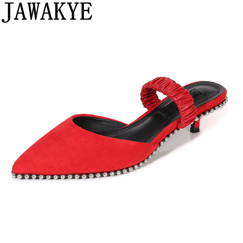 Kid suede kitten heels sandals women pointed toe back strap black red slippers string beaded rivets studded Summer shoes