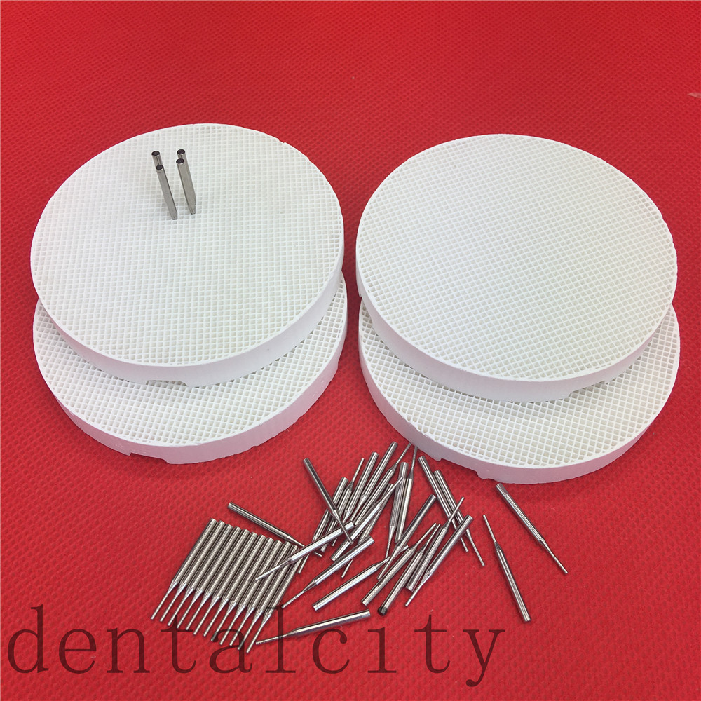 4 Pcs With 40 Pins, Dental Lab Honeycomb Firing Trays With Metal Pins,Pan Rack Circle Plate Holding PFMs For Sintering
