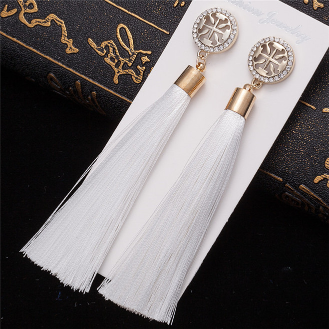 HTB1iomkV6DpK1RjSZFrq6y78VXaR - HOCOLE Bohemian Crystal Tassel Earrings Black White Blue Red Pink Silk Fabric Long Drop Dangle Tassel Earrings For Women Jewelry