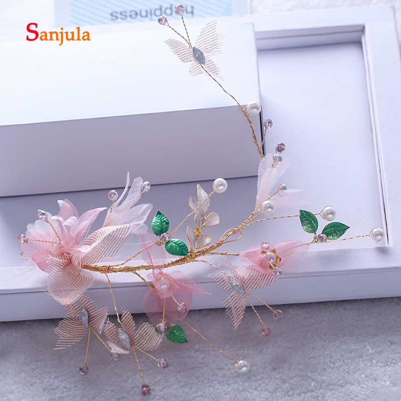Hair Jewelry Rapture Pink Handmade Flowers Bride Headband Pearls Evening Party Girls Hair Decoration Wedding Headwear Adornos Para El Cabello H153 Keep You Fit All The Time Jewelry Sets & More